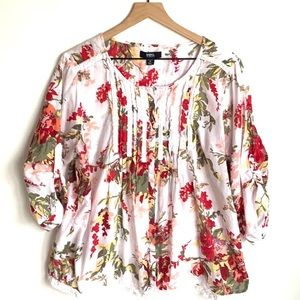 intro. floral peasant boho 3/4 sleeve top, Size 1X